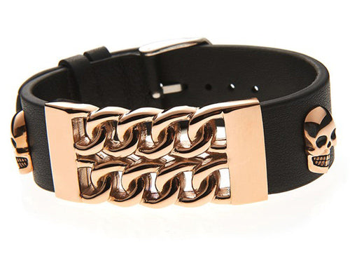 Mens Black Leather And Rose Gold Plated Stainless Steel Skull Bracelet - Blackjack Jewelry