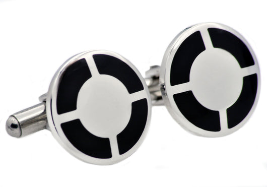 Mens Black Plated Stainless Steel Cuff Links - Blackjack Jewelry