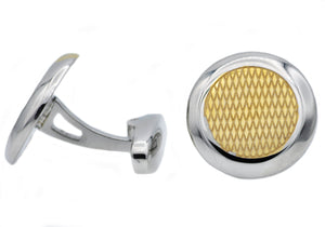 Mens Gold Stainless Steel Cuff Links - Blackjack Jewelry