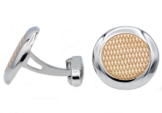 Mens Rose Plated Stainless Steel Cuff Links