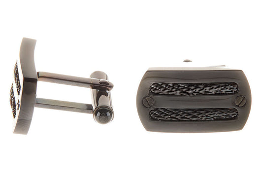 Mens Black Plated Stainless Steel Wire Cuff Links