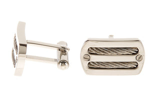 Mens Stainless Steel Wire Cuff Links - Blackjack Jewelry