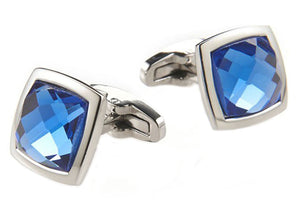 Mens Stainless Steel Cuff Links With Blue Crystals - Blackjack Jewelry