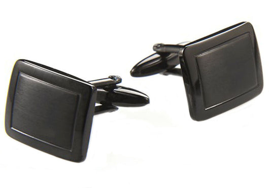 Mens Black Plated Stainless Steel Cuff Links