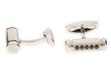 Mens Stainless Steel Cuff Links With Black Cubic Zirconia
