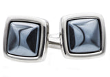 Mens Genuine Hematite And Stainless Steel Cuff Links