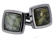 Load image into Gallery viewer, Mens Genuine Labradorite Gun Metal Plated Stainless Steel Cuff Links - Blackjack Jewelry