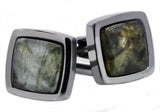 Mens Genuine Labradorite Gun Metal Plated Stainless Steel Cuff Links