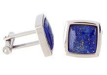 Load image into Gallery viewer, Mens Genuine Lapis Lazuli Stainless Steel Cuff Links - Blackjack Jewelry