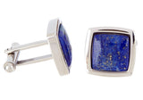 Mens Genuine Lapis Lazuli Stainless Steel Cuff Links