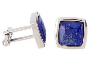 Mens Genuine Lapis Lazuli Stainless Steel Cuff Links - Blackjack Jewelry
