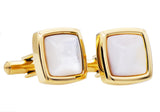 Mens Genuine Mother Of Pearl Gold Plated Stainless Steel Cuff Links