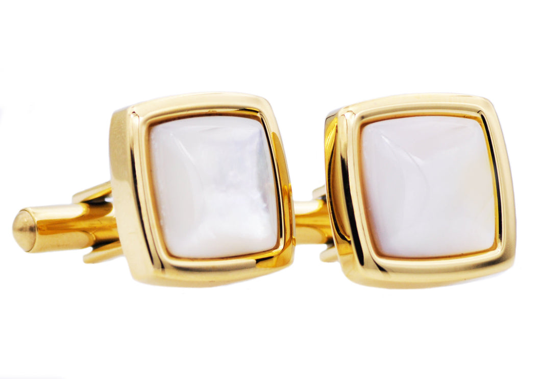 Mens Genuine Mother Of Pearl Gold Plated Stainless Steel Cuff Links - Blackjack Jewelry