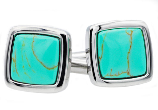 Mens Genuine Turquoise And Stainless Steel Cuff Links