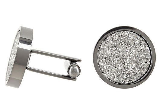 Mens Stainless Steel Cuff Links With Silver Druzi Quartz