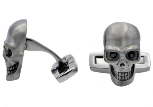 Mens Gun Metal Plated Stainless Steel Skull Cuff Links With Black Cubic Zirconia