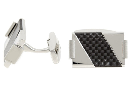 Mens Stainless Steel Cuff Links With Carbon Fiber
