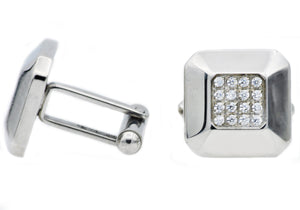 Mens Stainless Steel Cuff Links With Cubic Zirconia - Blackjack Jewelry