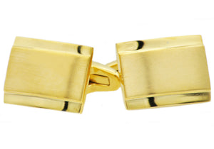 Mens Gold Plated Stainless Steel Cuff Links - Blackjack Jewelry