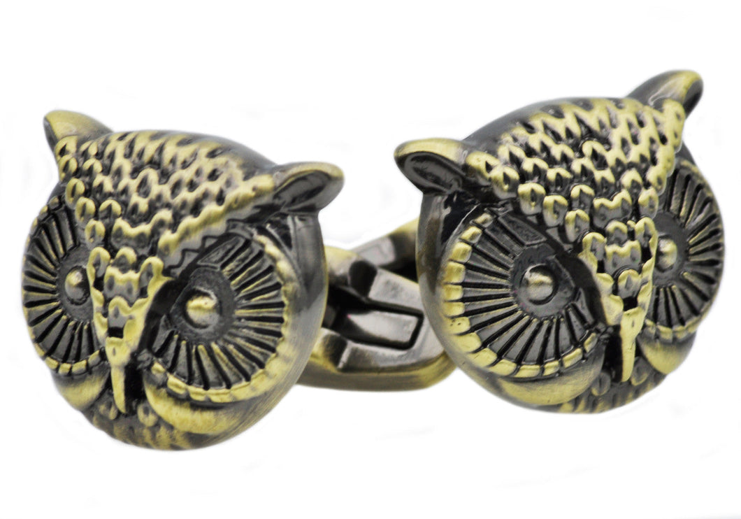 Mens Antique Gold Stainless Steel Owl Cuff Links - Blackjack Jewelry