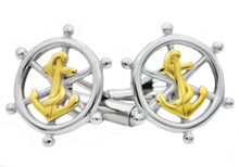 Load image into Gallery viewer, Mens Gold Plated Stainless Steel Ship Helm And Anchor Cuff Links - Blackjack Jewelry
