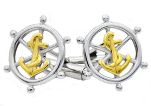Mens Gold Plated Stainless Steel Ship Helm And Anchor Cuff Links - Blackjack Jewelry