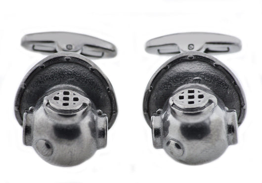 Mens Gunmetal Plated Stainless Steel Scuba Helmet Cuff Links