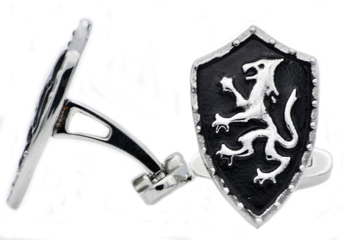 Mens Black Plated Stainless Steel Dragon Shield Cuff Links - Blackjack Jewelry