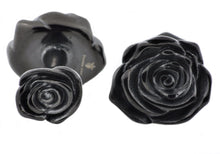 Load image into Gallery viewer, Mens Black Stainless Steel Rose Cuff Links - Blackjack Jewelry