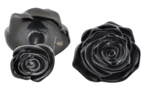 Mens Black Stainless Steel Rose Cuff Links - Blackjack Jewelry