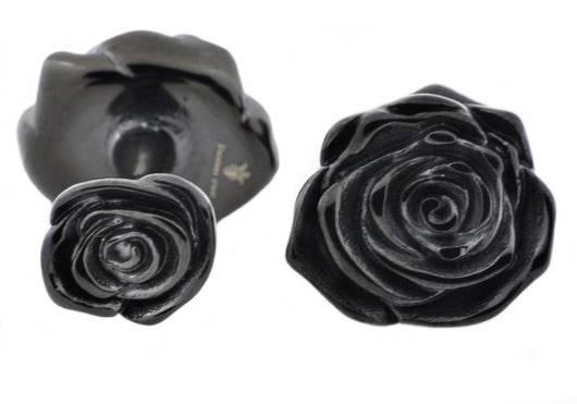 Mens Black Plated Stainless Steel Rose Cuff Links
