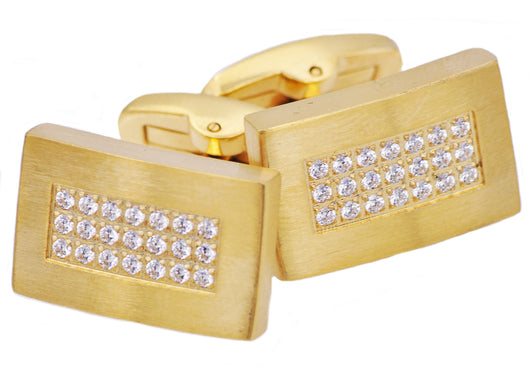 Mens Gold Plated Stainless Steel Cuff Links With Black Cubic Zirconia