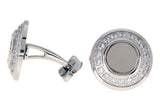Mens Stainless Steel Cuff Links With Cubic Zirconia