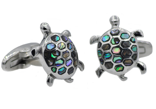 Mens Stainless Steel And Abalone Turtle Cuff links - Blackjack Jewelry