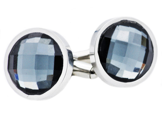 Mens Stainless Steel Cuff Links With Black Crystals
