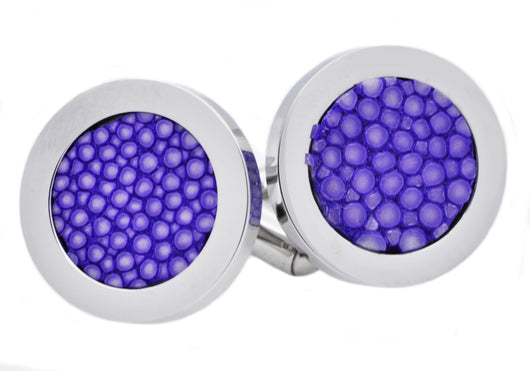 Mens Lavender Stingray Leather Stainless Steel Cuff Links