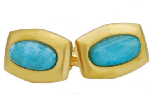 Mens Genuine Larimar Gold Plated Stainless Steel Cuff Links