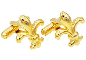 Mens Gold Plated Stainless Steel Fleur De Lis Cuff Links - Blackjack Jewelry