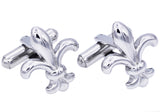 Mens Stainless Steel Fleur De Lis Cuff Links
