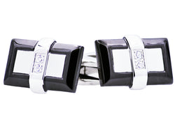 Mens Black Plated Stainless Steel Cuff Links With Cubic Zirconia