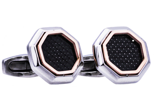 Mens Rose Gold Plated Stainless Steel Cuff Links With Black Carbon Fiber