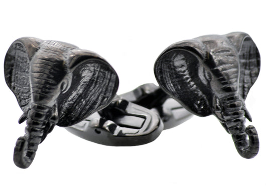 Mens Black Plated Stainless Steel Elephant Cuff Links