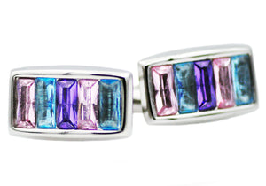 Mens Stainless Steel Cuff Links With Multicolored Crystals - Blackjack Jewelry