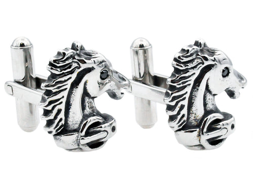 Mens Stainless Steel Horse Cuff Links With Black Cubic Zirconia - Blackjack Jewelry