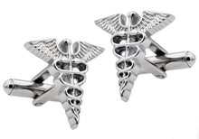 Load image into Gallery viewer, Mens Stainless Steel Caduceus Cuff Links - Blackjack Jewelry