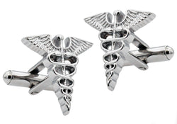 Mens Stainless Steel Caduceus Cuff Links