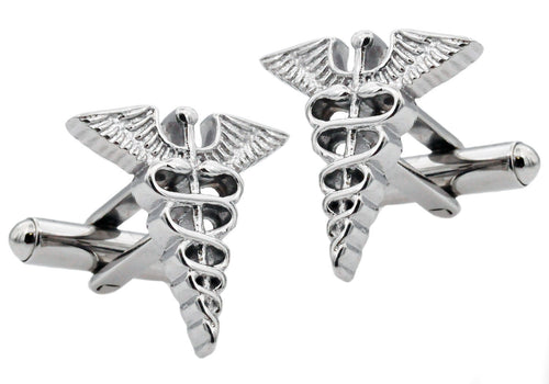 Mens Stainless Steel Caduceus Cuff Links - Blackjack Jewelry