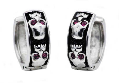 Mens Black Plated Stainless Steel Skull Earrings WIth Purple Cubic Zirconia - Blackjack Jewelry