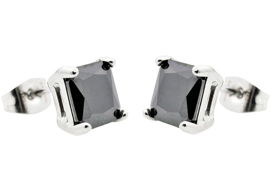 Mens Stainless Steel Earrings With Black Cubic Zirconia