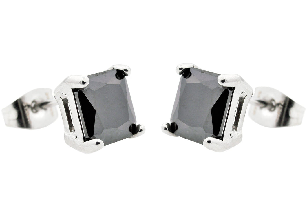 Men's 7mm Black Cubic Zirconia Stainless Steel Square Stud Earrings - Blackjack Jewelry